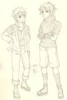 Sketch Sasuke and Naruto by 666azarashi666