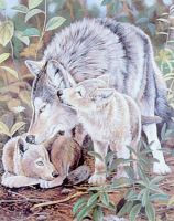 SilverHeart-She Wolf and pups by SatfireWolf
