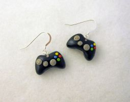 Black XBOX 360 Earrings SS by egyptianruin