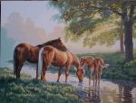 Horses by a Stream by koko992001