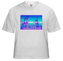 Purple Silhouettes On Blue by BizarreTShirts