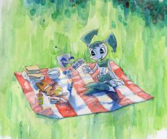 Jenny and GIR in picnic by XJleiu