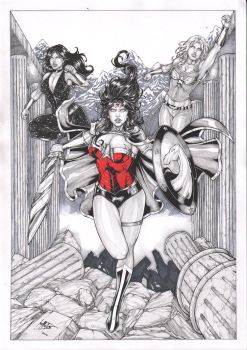 WONDER WOMAN, WONDER GIRL e DONNA TROY by Leomatos2014