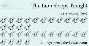 The Lion Sleeps Tonight 12 hole ocarina tablature by smileys-4-eva