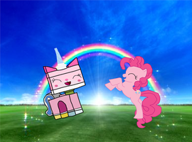 Pinkie pie and Unikitty by pikachuandpichu106
