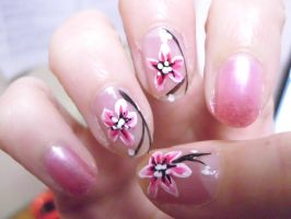 Sakura Blossoms Nail Art by Kythana