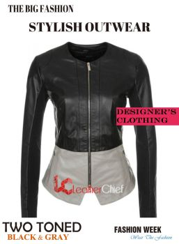 Black And Grey Two Toned Stylish Leather Jacket by Megan-Walker
