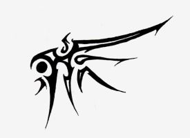 Tribal Wing tattoo by Logical-Primate