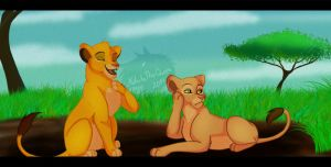 Simba and Nala by xShiro-no-Musumex