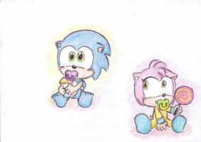 babies: Sonic and Amy by LeniProduction