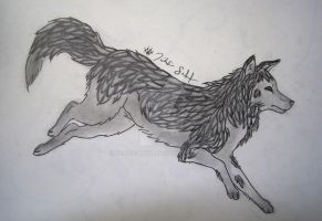 Wolf Outline Colored by Peace-Wolf