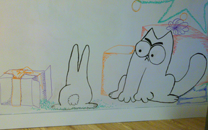 Office Wall drawing - Simon's Cat Christmas style by Dolaria