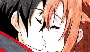 Kirito and Asuna's kiss part 2 by SummonerDagger88
