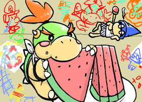 Baby bowser eats watermelon by yabuisyakazehito