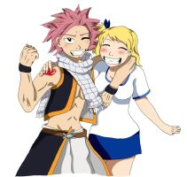 Natsu and Lucy (Fairy Tail) by xXxBlackKnightxXx