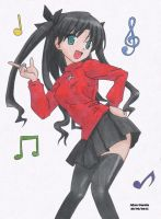 Rin Tohsaka Dancing - Colored by Shinoharaa