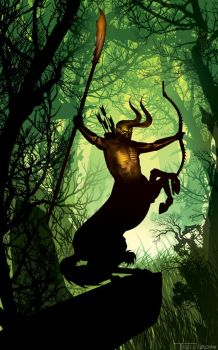 Centaur Dark lord of the wood by artist Tom Kelly by TomKellyART