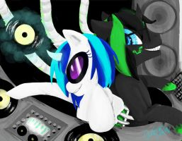 MLP Commission: Tech Tronic and Vinyl Scratch by musicwitme