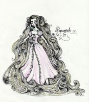 Tim Burtonned Rapunzel by La-Chapeliere-Folle