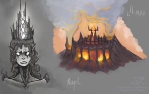 Concept art- Morgoth and Utumno by RivkaZ