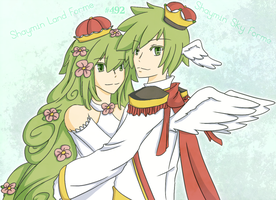 Gijinka - Shaymin Land and Sky by brioche-of-destiny