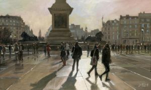 Low Light Trafalgar Square by treeshark