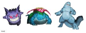 Gengar Venusaur and Quagsire by Namh