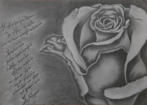 White Rose - Painting with pencil and dry pastel by AngelE85