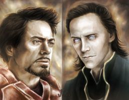 enemies (Iron Man, Loki) by CocaineJia