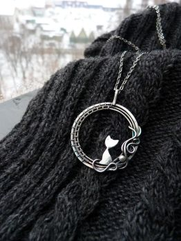 Silver necklace Cat by UrsulaJewelry