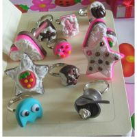 Handmade fimo rings by yen-hm