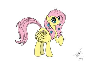 Fluttershy Lineart Colored by Mynder