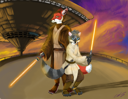 Jedis at cloud city by celdragon