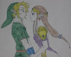 Link and Zelda drawing by Sweetgirl333