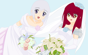 Bride and Bridesmaid by heophtia