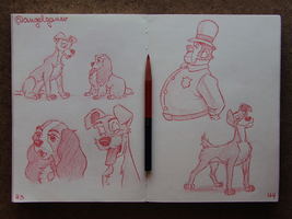 Animation Sketches - Lady and the Tramp by AngelGanev