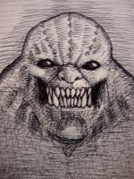 Killer Croc (pen sketch) by myconius