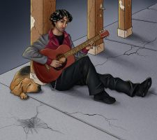 Commision: guitar player by Pandora-Gold