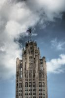 Dramatic clouds Tribune Tower by spudart