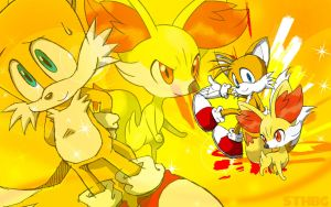 Tails The Fox And Fennekin - Wallpaper by SonicTheHedgehogBG