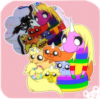 Lady Rainicorn and pups by Mousu