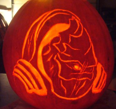 Mass Effect Wrex Pumpkin by RebelATS
