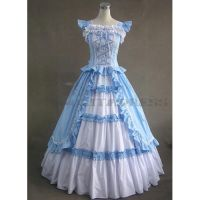Blue and White Gothic Victorian Dress by mysexyzentai