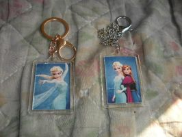 My Frozen keychains came today in the mail. by BlueRosePetalsQueen