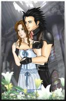 Aerith and Zack -colored- by Wakamoley
