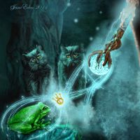 Detail of cats and frog. by JaneEden