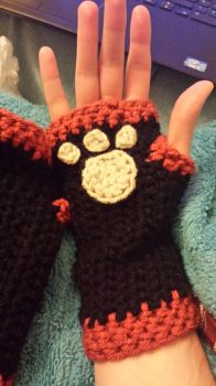 Paw + Claw hand warmers by Gothic-Enchantress