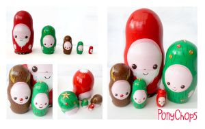 Christmas Russian Dolls by ponychops