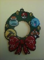 Perler Wreath by cardinalchang