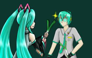 Miku VS Mikuo by Coco-of-the-Forest